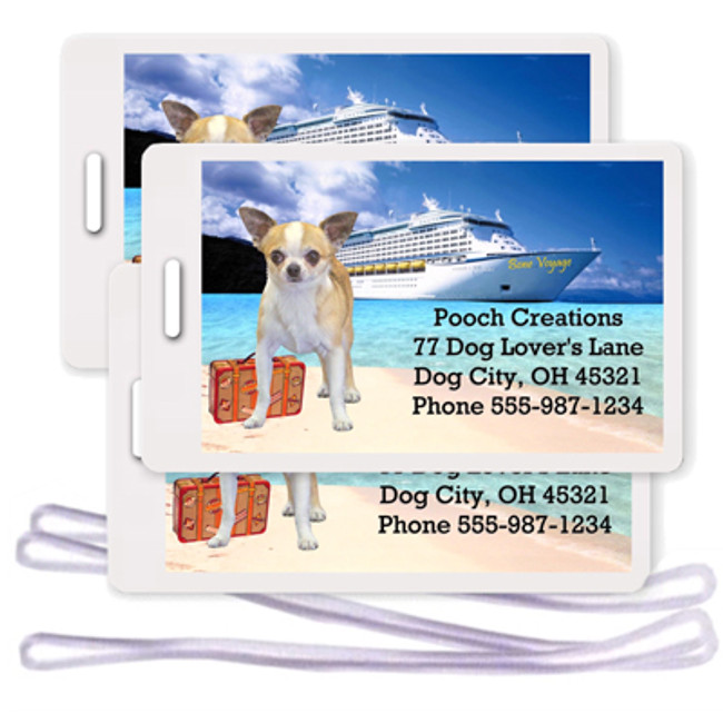 Chihuahua Set of 3 Personalized Cruise Ship Luggage Tags