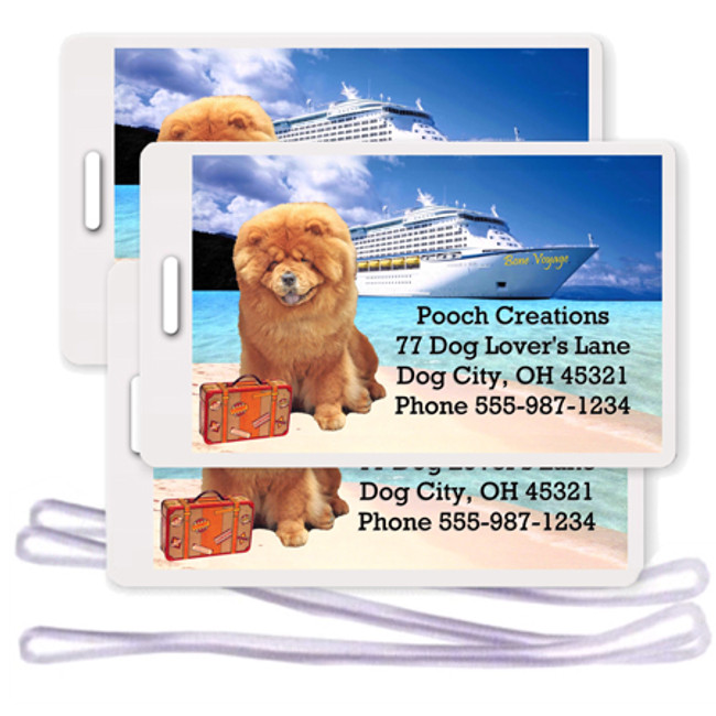 Chow Chow Set of 3 Personalized Cruise Ship Luggage Tags