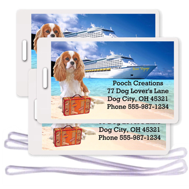 Cavalier King Charles Set of 3 Personalized Cruise Ship Luggage Tags Blenheim