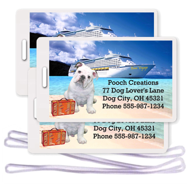 English Bulldog Set of 3 Personalized Cruise Ship Luggage Tags (#3)