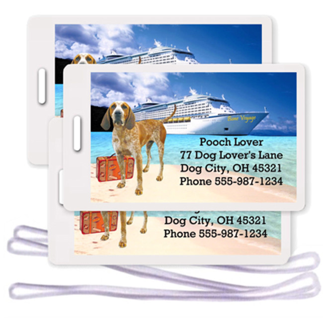 English Redtick Coonhound Set of 3 Personalized Cruise Ship Luggage Tags