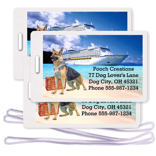 German Shepherd Dog Set of 3 Personalized Cruise Ship Luggage Tags