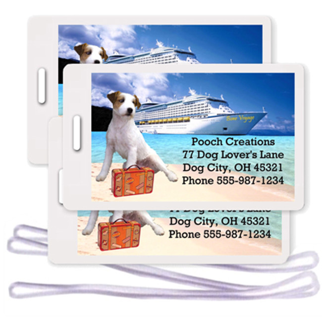 Jack Russell Terrier Set of 3 Personalized Cruise Ship Luggage Tags