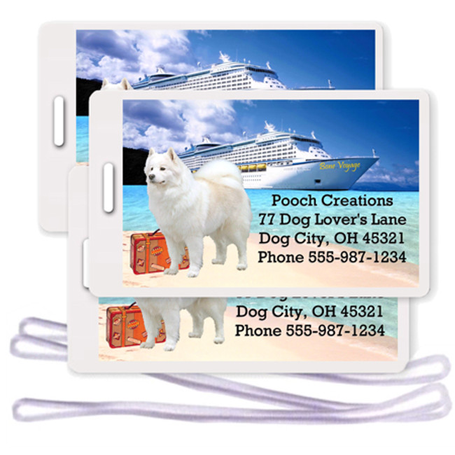 Samoyed Set of 3 Personalized Cruise Ship Luggage Tags