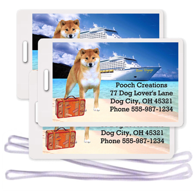 Shiba Inu Set of 3 Personalized Cruise Ship Luggage Tags (Red)