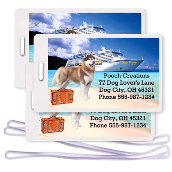 Siberian Husky Set of 3 Personalized Cruise Ship Luggage Tags (Red)