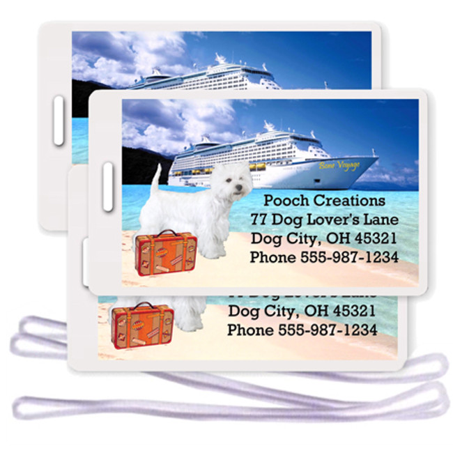 West Highland White Terrier Set of 3 Personalized Cruise Ship Luggage Tags
