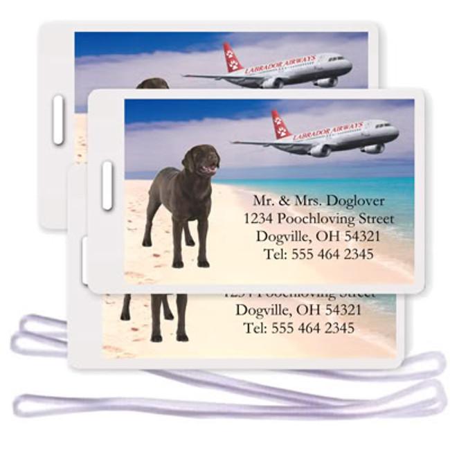 Labrador Retriever Set of 3 Personalized Airplane Design Luggage Tags (Choc)