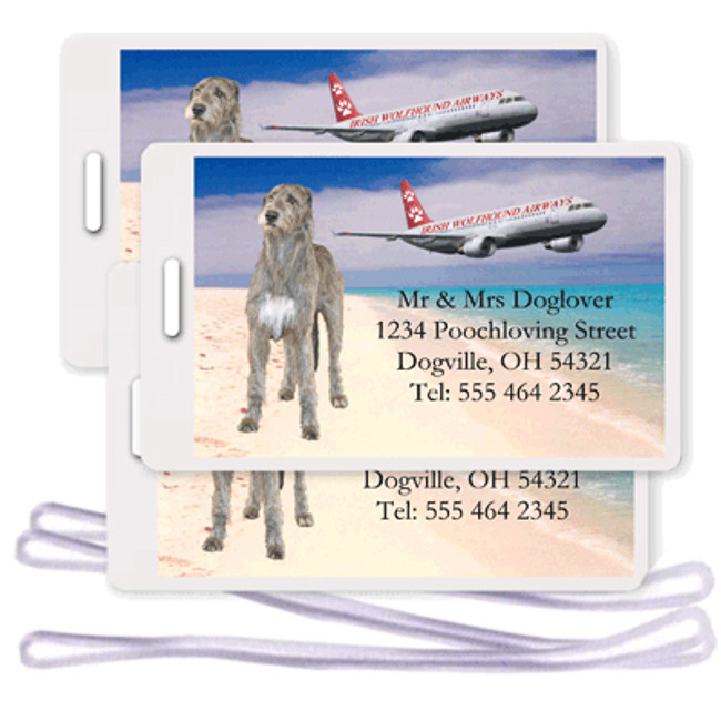 Irish Wolfhound Set of 3 Personalized Airplane Design Luggage Tags