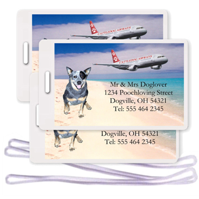 Australian Cattle Dog Set of 3 Personalized Airplane Design Luggage Tags