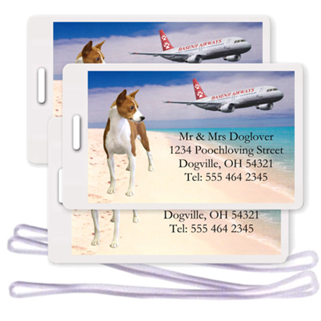Basenji Set of 3 Personalized Airplane Design Luggage Tags (#1)