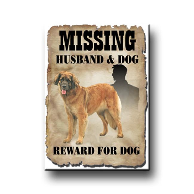 Leonberger Husband Missing Reward Fridge Magnet