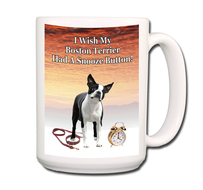 Boston Terrier Snooze Alarm Coffee Tea Mug 15oz No 3