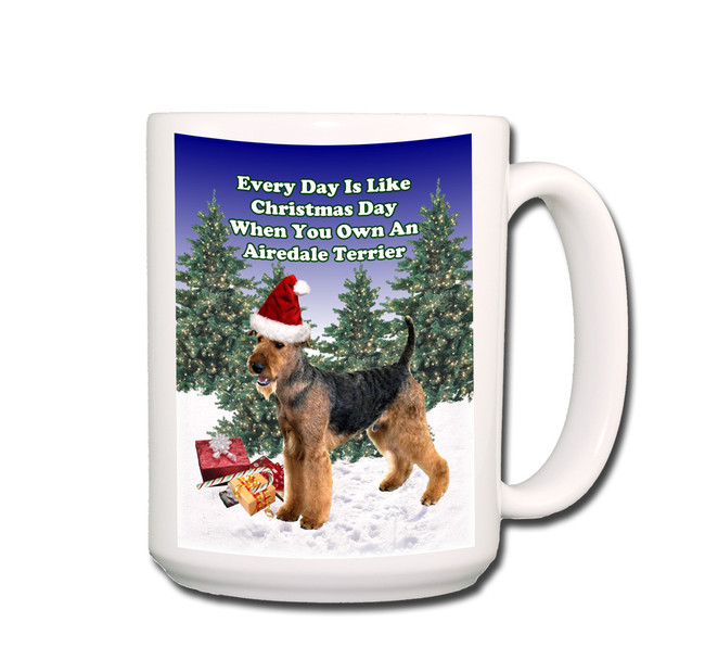 Airedale Terrier Christmas Holidays Coffee Tea Mug 15oz