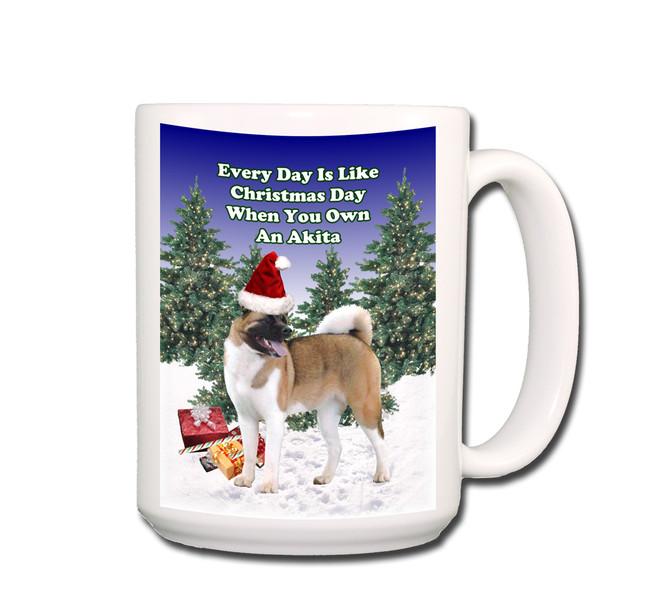 Akita Christmas Holidays Coffee Tea Mug 15oz