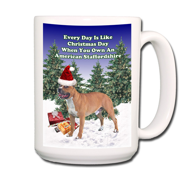 American Staffordshire Terrier Christmas Holidays Coffee Tea Mug 15oz No 1