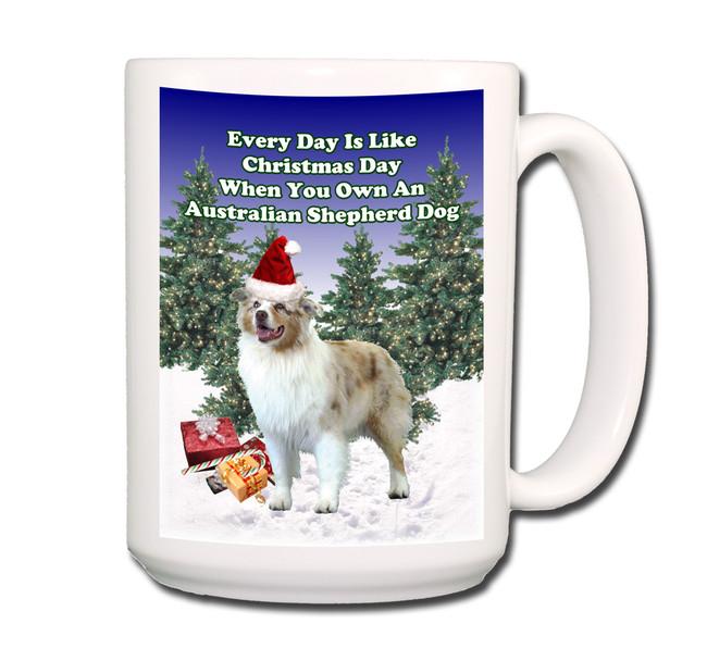 Australian Shepherd Dog Christmas Holidays Coffee Tea Mug 15oz