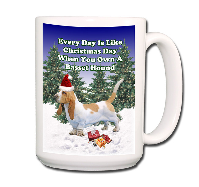 Basset Hound Christmas Holidays Coffee Tea Mug 15oz No 1