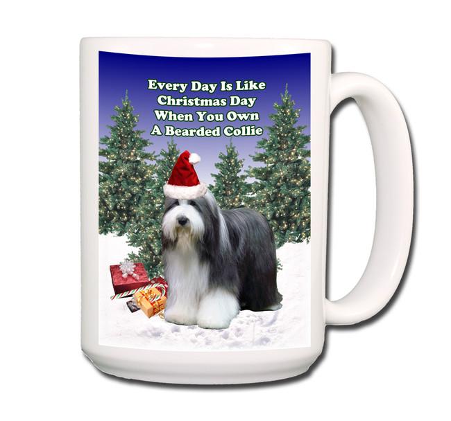 Bearded Collie Christmas Holidays Coffee Tea Mug 15oz