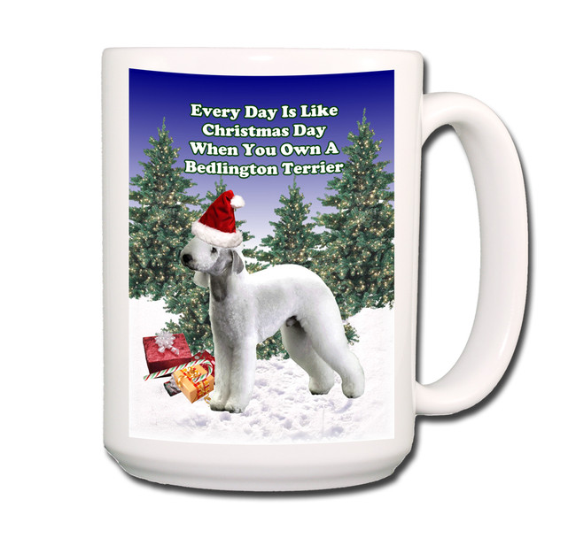 Bedlington Terrier Christmas Holidays Coffee Tea Mug 15oz