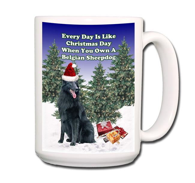 Belgian Sheepdog Christmas Holidays Coffee Tea Mug 15oz
