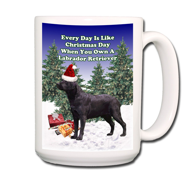 Labrador Retriever Christmas Holidays Coffee Tea Mug 15oz (Black)