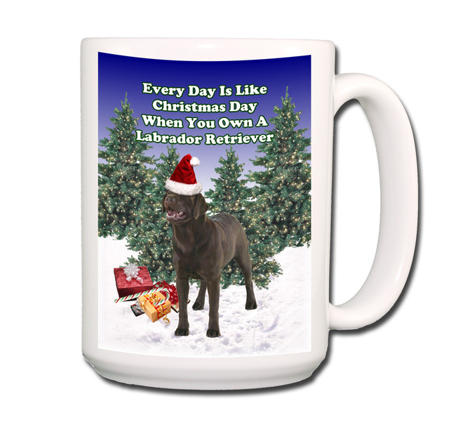 Labrador Retriever Christmas Holidays Coffee Tea Mug 15oz (Choc)