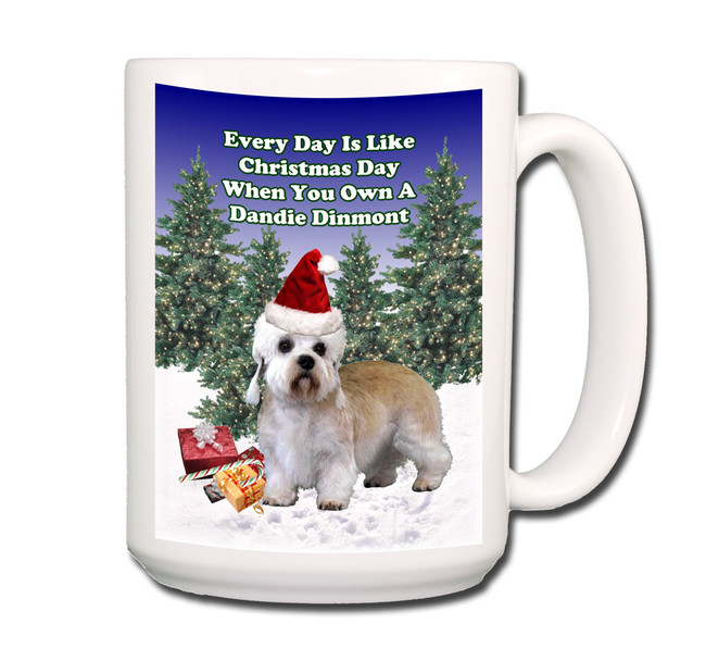 Dandie Dinmont Terrier Christmas Holidays Coffee Tea Mug 15oz