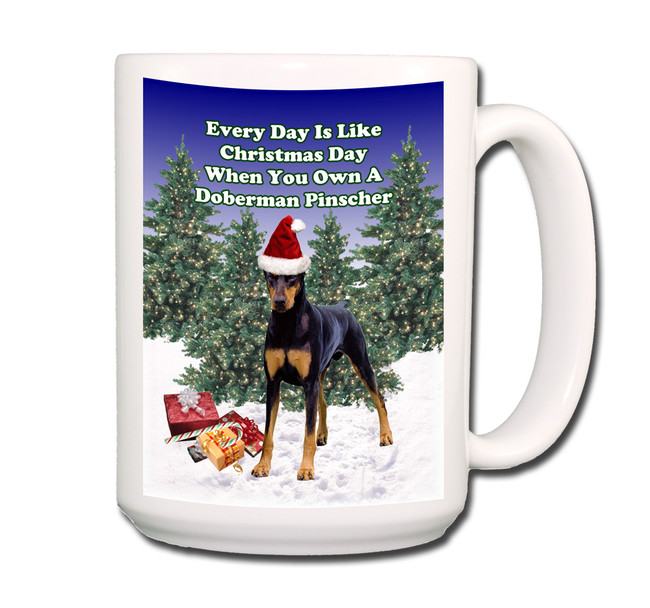 Doberman Pinscher Christmas Holidays Coffee Tea Mug 15oz No 1