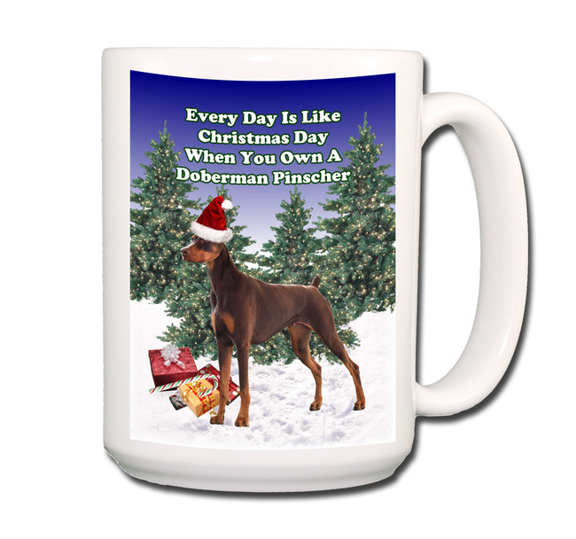 Doberman Pinscher Christmas Holidays Coffee Tea Mug 15oz No 2 (Red)