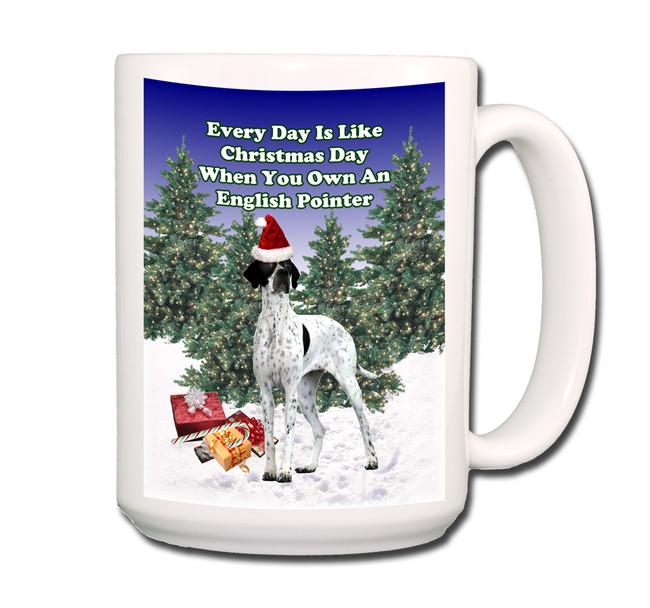 English Pointer Christmas Holidays Coffee Tea Mug 15oz