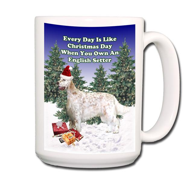 English Setter Christmas Holidays Coffee Tea Mug 15oz