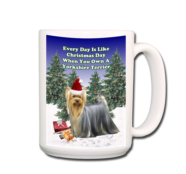 Yorkshire Terrier Christmas Holidays Coffee Tea Mug 15oz No 1