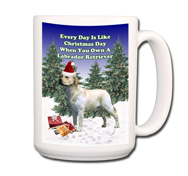 Labrador Retriever Christmas Holidays Coffee Tea Mug 15oz (Yellow)