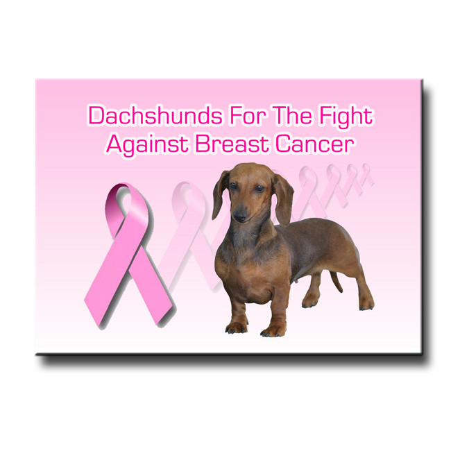 Dachshund Breast Cancer Support Fridge Magnet No 1