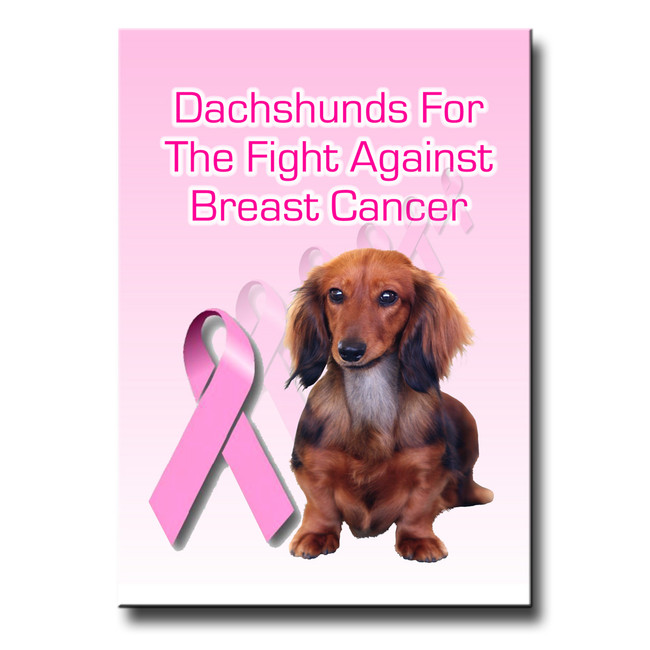 Dachshund Breast Cancer Support Fridge Magnet No 4