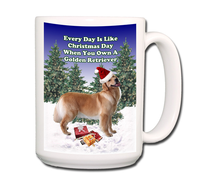 Golden Retriever Christmas Holidays Coffee Tea Mug 15oz