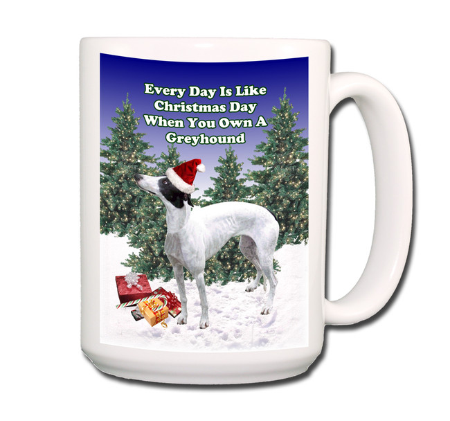 Greyhound Christmas Holidays Coffee Tea Mug 15oz No 1