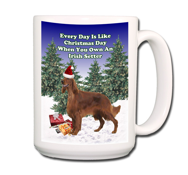 Irish Setter Christmas Holidays Coffee Tea Mug 15oz