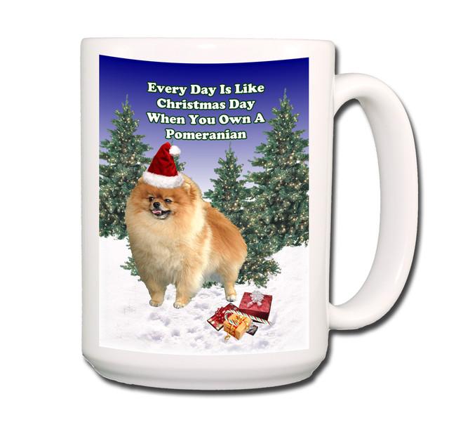 Pomeranian Christmas Holidays Coffee Tea Mug 15oz