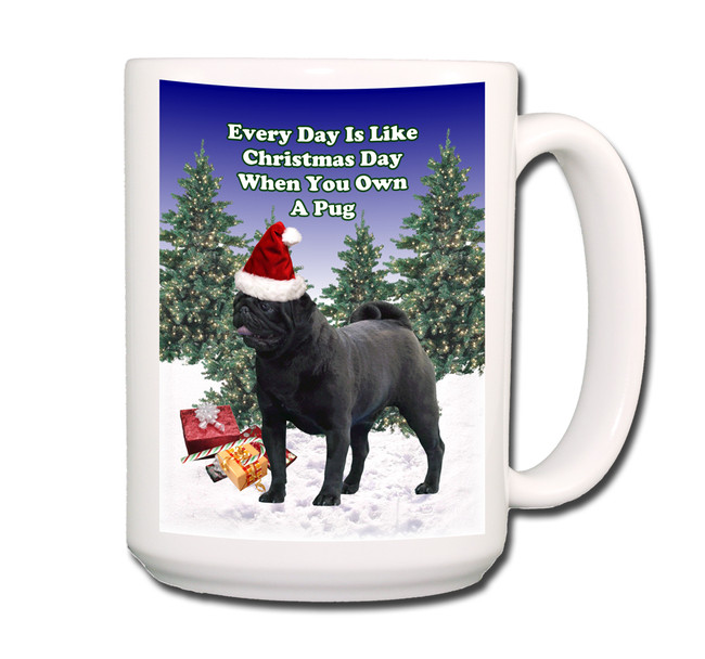 Pug Christmas Holidays Coffee Tea Mug 15oz (Black)
