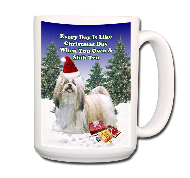 Shih Tzu Christmas Holidays Coffee Tea Mug 15oz
