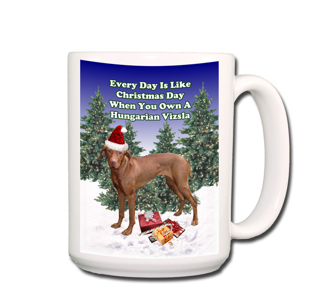 Hungarian Vizsla Christmas Holidays Coffee Tea Mug 15oz