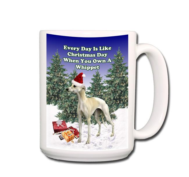 Whippet Christmas Holidays Coffee Tea Mug 15oz