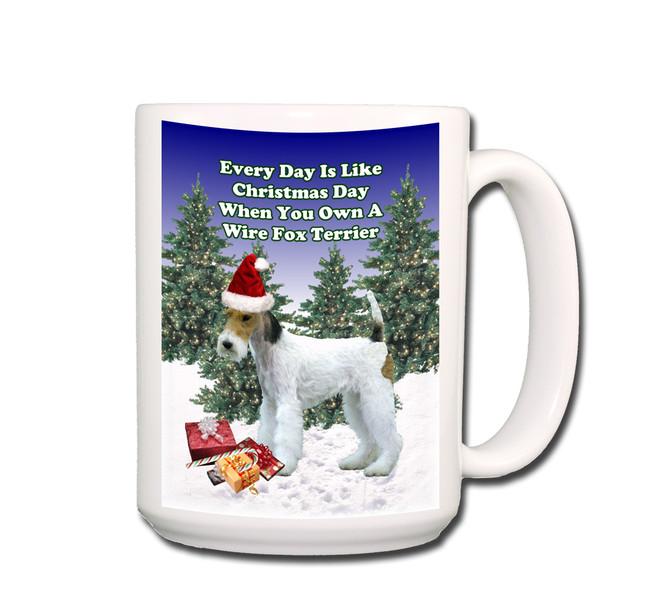 Wire Fox Terrier Christmas Holidays Coffee Tea Mug 15oz