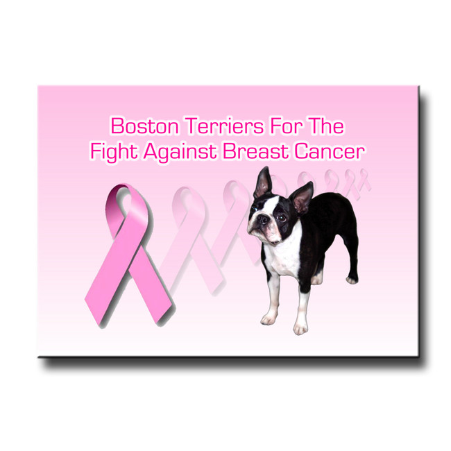 Boston Terrier Breast Cancer Support Fridge Magnet No 1