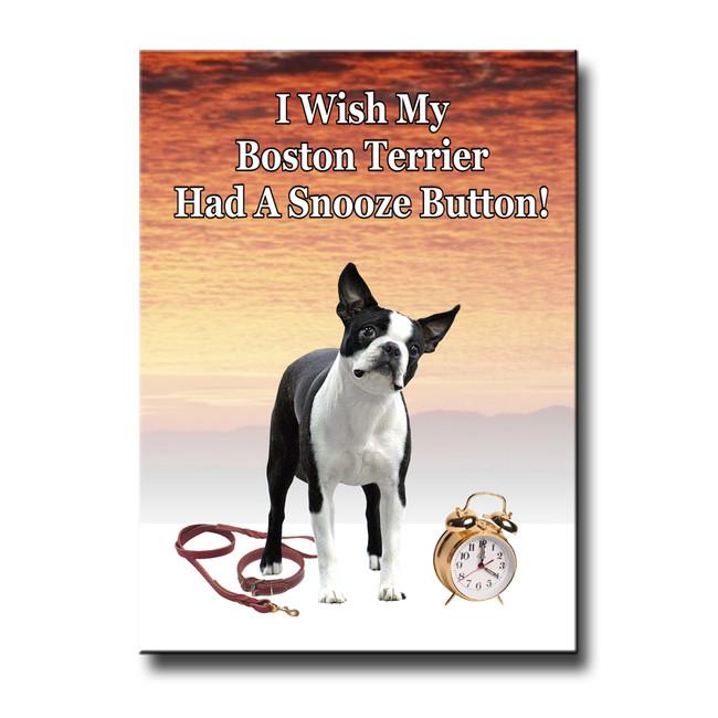 Boston Terrier Snooze Alarm Fridge Magnet