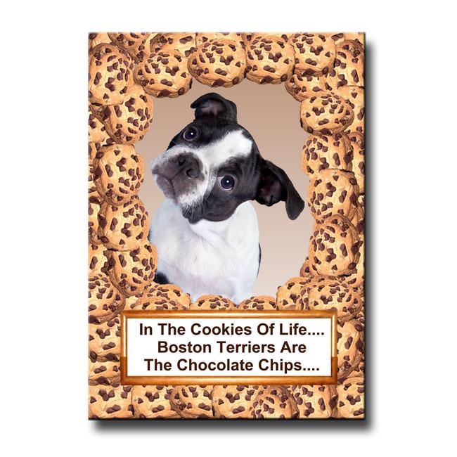 Boston Terrier Cookie Choc Chip Fridge Magnet No 3