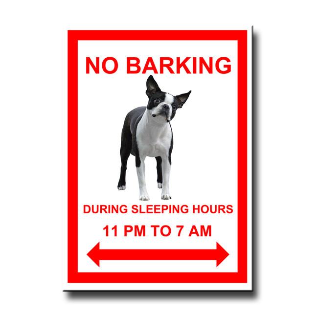 Boston Terrier No Barking Fridge Magnet