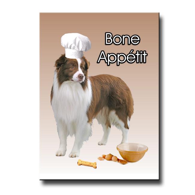 Border Collie Bone Appetit Chef Fridge Magnet No 2